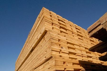 Stack of wood access mats (swamp mats)