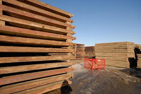 Stack of Steel Framed Rig Mats